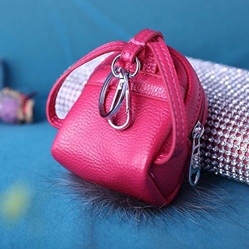 URSFUR Pequeña mochila lindo con aspecto de muñeca de piel genuina para viajar llevar objetos pequeños rosa roja