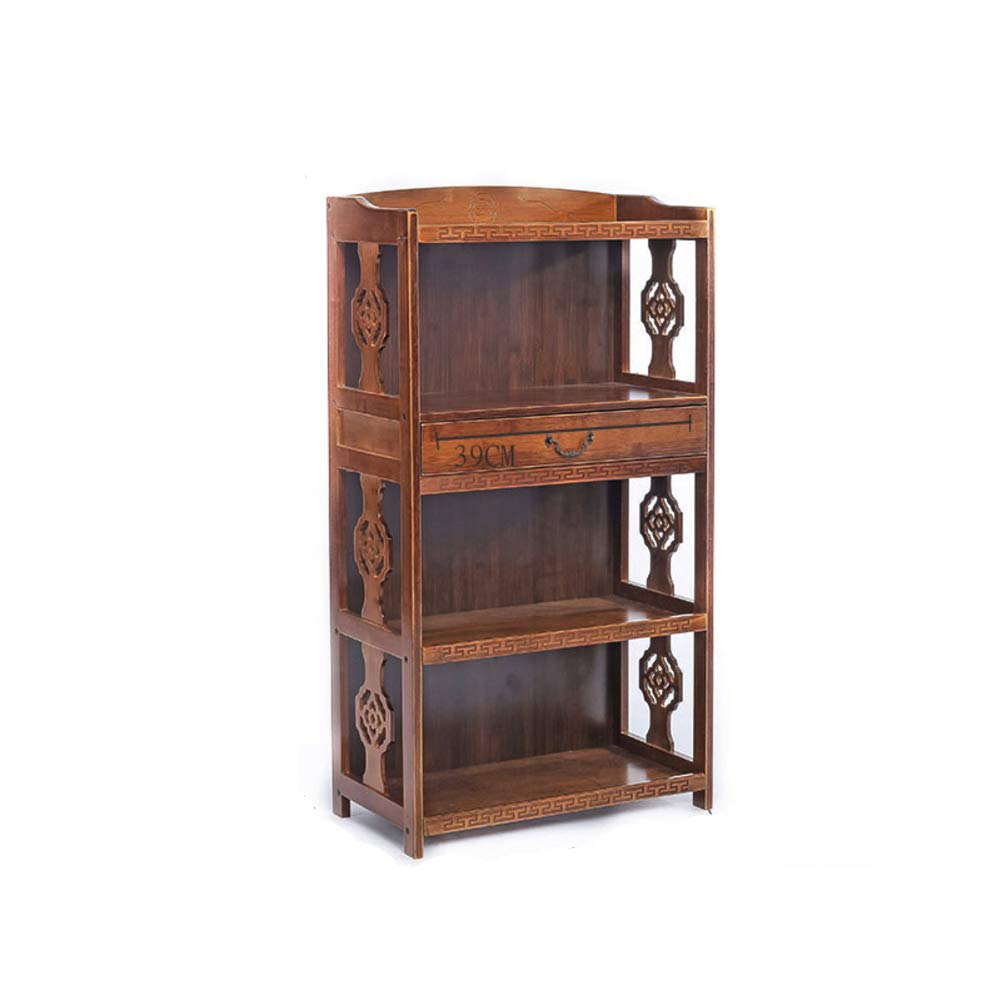KELE Retro Bücherregal, Massivholz Kreativ Bodenstehende Chinesisch Antik Bücherregal Einfache Wohnzimmer Lagerschränke Bambus Pflanzenständer-E 53X29X113cm