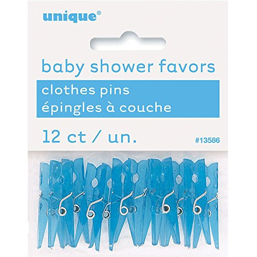 (Mini Plastic Blue Clothespin Boy Baby Shower Favor Charms, 12ct)