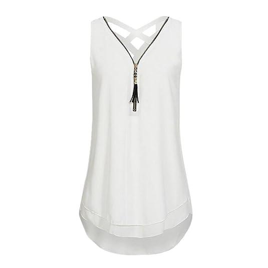Reaso Femme Tank Top Chic Débardeurs Ete Haut Dentelle Top Grande Taille T-Shirt Élégant Sans Manche Chemise Blouse Fille Fashion Printemps Soiree Veste