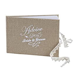 Ginger Ray Vintage Affair Bride & Groom Advice Wedding Guest Book, Brown