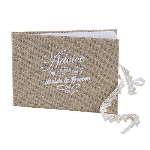 Ginger Ray AF-643 Vintage Affair Bride & Groom Advice Wedding Guest Book, Brown, W 24 cm x H 17 cm -