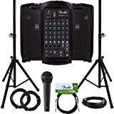 Fender Passport Event Portable PA System Bundle with Microphone, Compact Speaker Stands, XLR