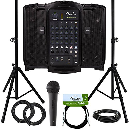 (Fender Passport Event Portable PA System Bundle with Microphone, Compact Speaker Stands, XLR Cable, and Instrument)