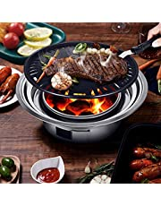 KOSIEJINN camping grill rostfritt stål, utomhus grill kolgrill, bärbar kolgrill, för grillälskare, resor, parker, stränder, vild, matlagning resor