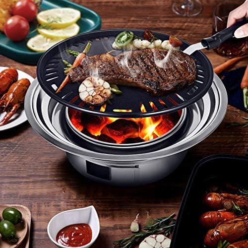 KOSIEJINN Mini barbecue au charbon de bois en acier inoxydable pliant portable rond poêle à barbecue pour la cuisine en plein air Camping randonnée pique-niques, 35 * 23.5 * 12cm