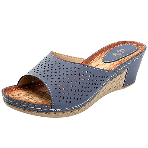 Alexis Leroy Womens Block Heel Hollow Out Open Toe Slip on Sandals