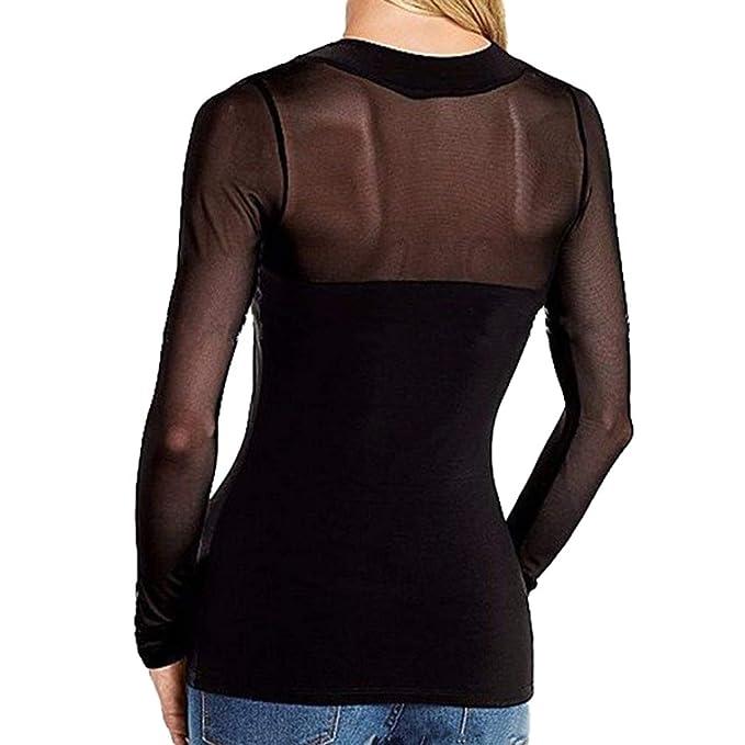 Juleya Mujer Gasa Blusa Sexy Tops Elegante Señoras Cuello redondo Camisa Tul Malla Manga Blusas de verano Negro Camiseta Tops: Amazon.es: Ropa y accesorios