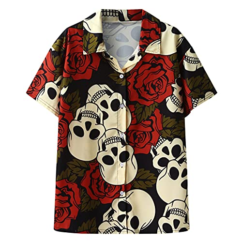 Sakoid Individual Design Skull and Rose Flower Print Short Sleeve Casual Beach Hawaiian Shirt Hawaiian Beach Shirts Tops (Red, M)