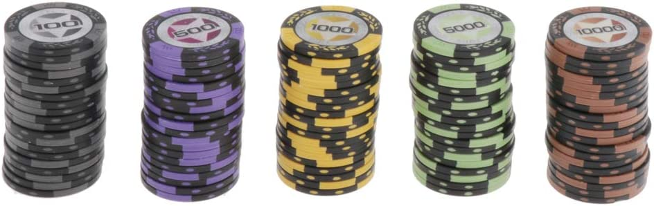 100 500 1000 5000 10000 Multicolor Blackjack,Bing Game Accessories Bonarty 100Pcs Clay Poker Chips Set Counters Markers for Texas Holdem