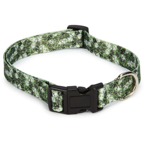 Casual Canine Polyester Bone Heads Dog Collar, 18 to 26-Inch, Green