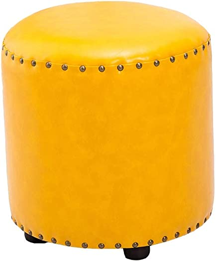 JUDZ Guitar Foot Stool Footstools and Pouffes Faux Fur Stool Round Footstool Ottoman Chair Upholstered Fur Seat Single Seat with Solid Wood Feet Blue Color Yellow