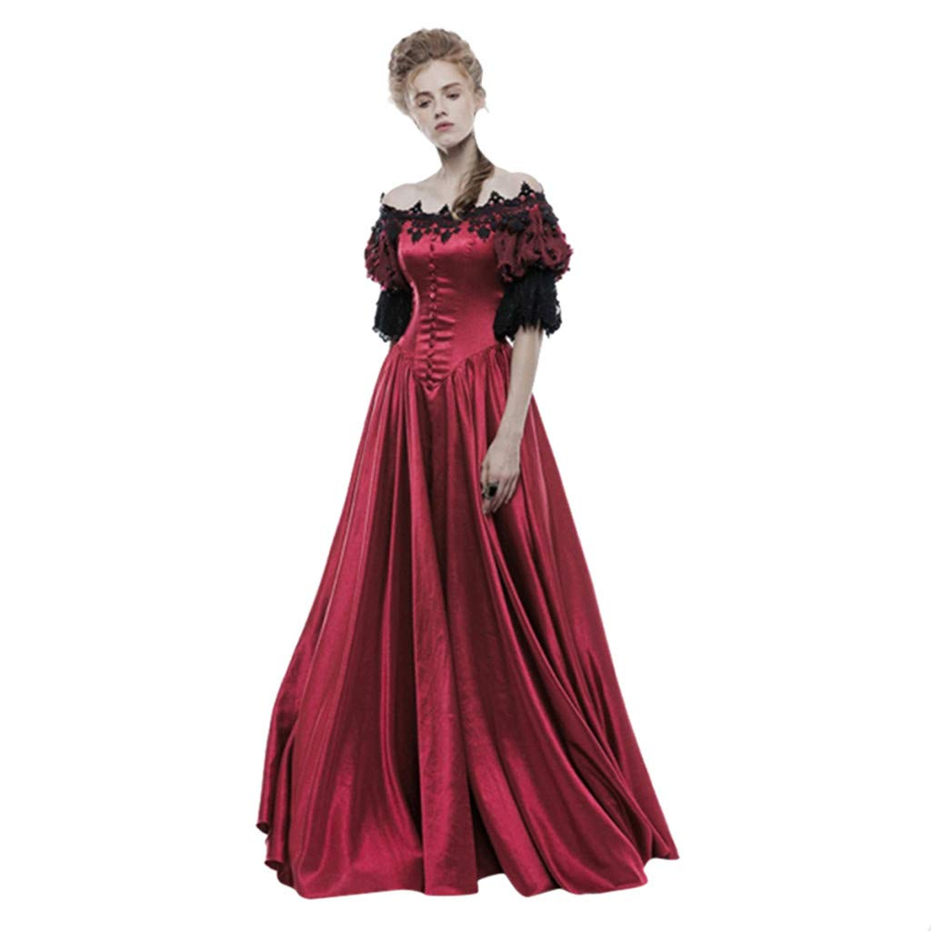 Dainzuy Womens Gothic Victorian Classic Lolita Prom Ball Dress Vintage Lace Clashing Dress Costume for Halloween Party Red by Dainzuy Women Dress