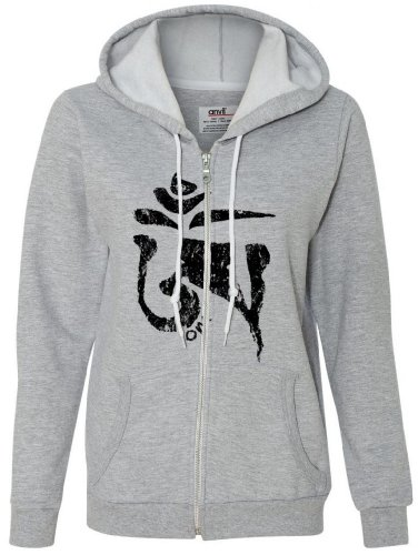 Yoga Clothing For You Ladies Black TIBETAN OM Full Zip Hoodie, 2XL Heather Grey