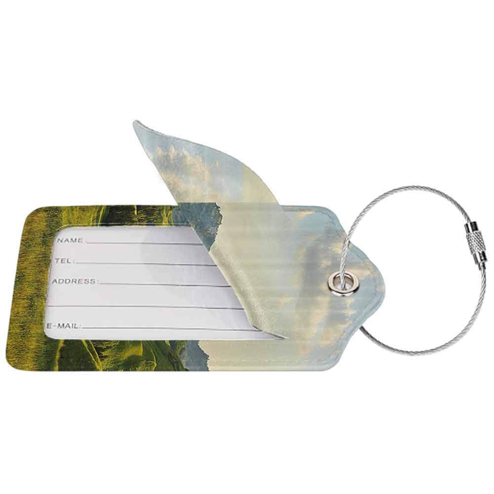 Flexible luggage tag Country Tuscany Hills Italy Meadow Greenery Pastoral Rural Scenery Farmland Scenic Fashion match Green Light Blue W2.7 x L4.6