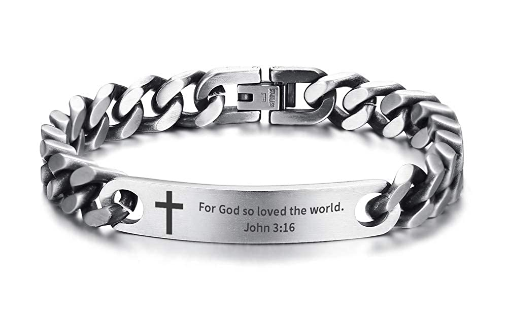 Antique Finish Steampunk Stainless Steel Religous Wristband Christian Bible Verse Inspirational Quote Cross Chain Bracelet for Men Mealguet MG--BR--521GR--009