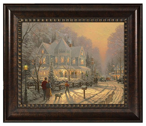 (Thomas Kinkade A Holiday Gathering 16 x 20 Brushstroke Vignette (Rich Burl))