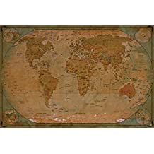 Historical World Map Poster XXL – wall picture decoration globe antique vintage world map used atlas map old school | Wallposter Photoposter wall mural wall decor by GREAT ART (55 x 39,4 Inch)