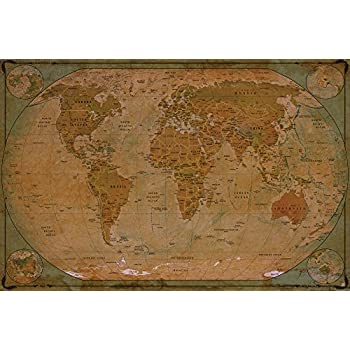 Amazon historical world map poster xxl wall picture historical world map poster xxl wall picture decoration globe antique vintage world map used atlas gumiabroncs Images