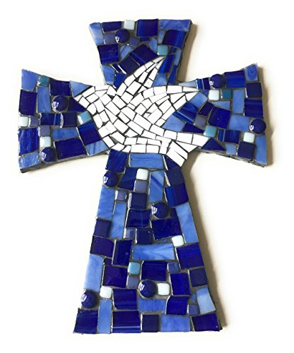 Handcrafted Mosaic Dove Wall Cross, Assorted Blue stained