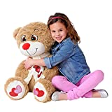 iPlush Collapse N' Carry Inflatable As Seen on TV Big 26 Foot Tall Fuzzy Toy I Love You Teddy Bear, Light Brown