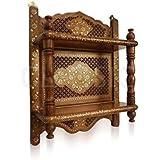 Onlineshoppee Wooden Wall Bracket Sheesham Wood Double Shelf Mandir Temple Shelves Size(LxBxH-17x6x21) Inch