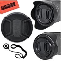 55mm and 58mm Reversible Tulip Flower Lens Hood and Lens Cap Kit for Nikon D5600, D3400 DSLR Camera with Nikon 18-55mm f/3.5-5.6G VR AF-P DX and Nikon 70-300mm f/4.5-6.3G ED