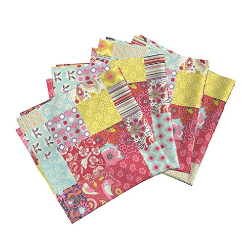 nic Sateen Dinner Napkins Spring Cheater Quilt Patchwork Squares by Shellypenko Set of 4 Cotton Dinner Napkins made by ()