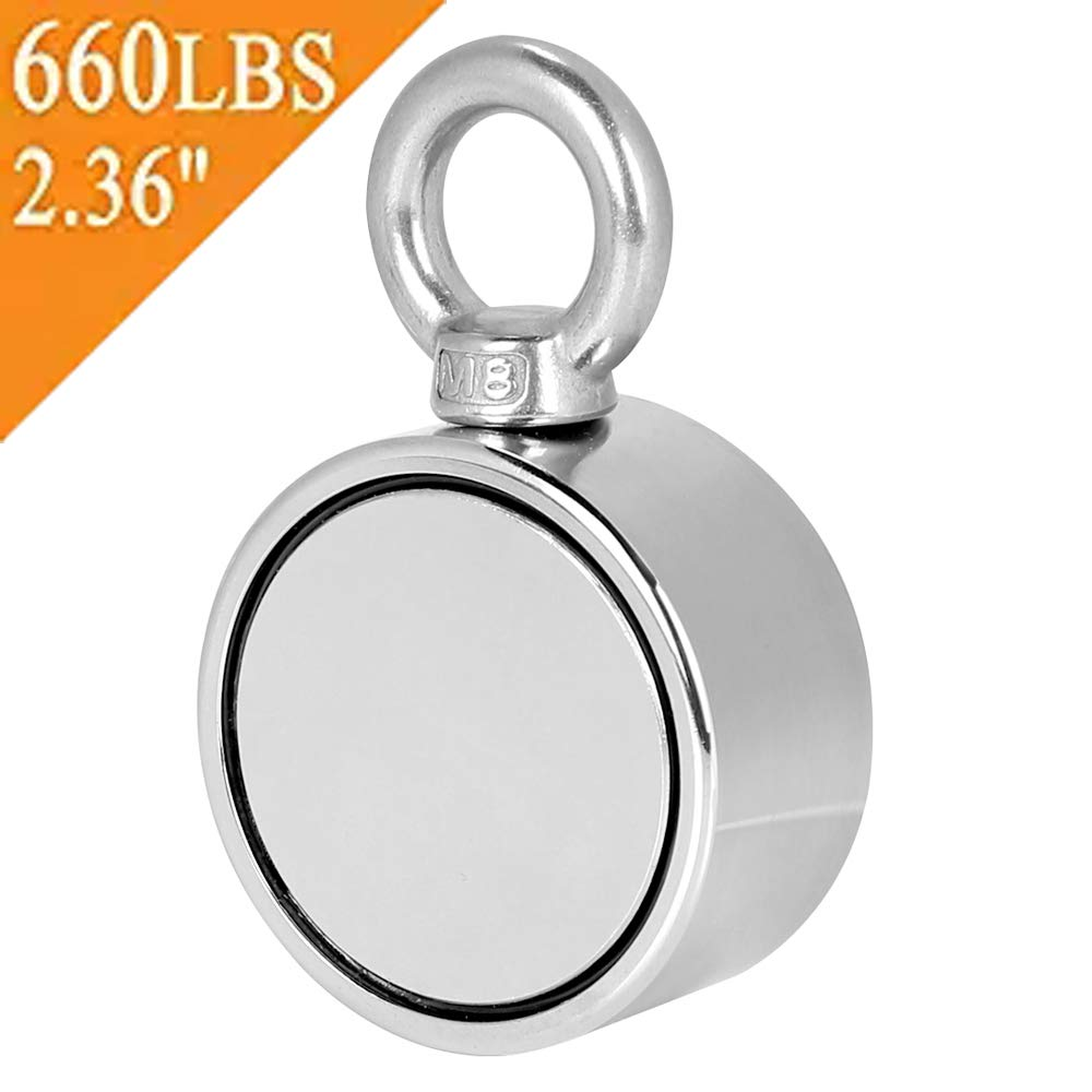 Double Sided Round Neodymium Fishing Magnet with Eyebolt, Vertical Tension 660LBS, 2.36''Diameter (S60)