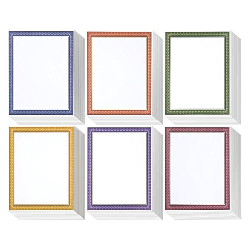 96 Pack Color Combo Natural Diplomat Border Award Certificate Paper - Certificate Paper for Recognition, Graduations, Schools, Employees, 8.5 x 11 Inches