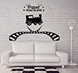 Negativ Wall Decal Steam Train Locomotive Rail Travel Vinyl Removable Mural Art Decoration Stickers for Home Bedroom Nursery Living Room Kitchen