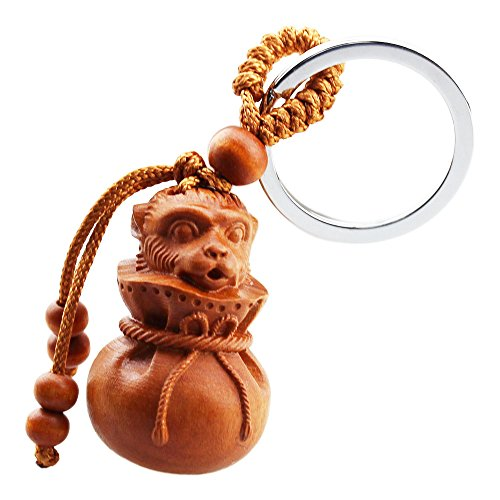FOY-MALL Chinese Zodiac Monkey Jujube Wood Carved Keychain Rings ()