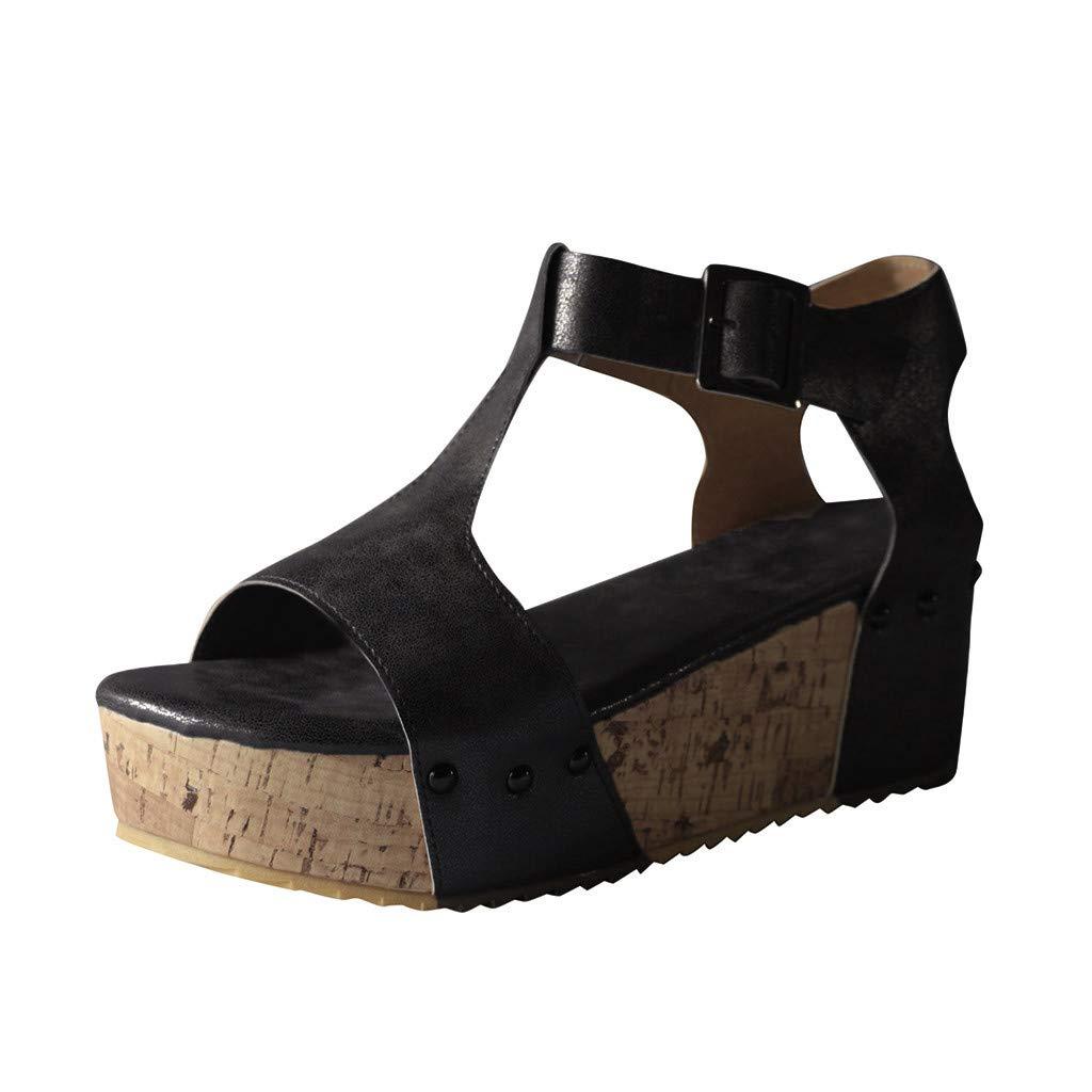 ★QueenBB★ Womens Wedges Sandals Platform Peep Toe Cutout Slingback Summer Cork Sandals Gladiator High Heels Black