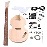 Yibuy Maple DIY 4 String Electric Guitar BBT Bass Body Neck Fingerboard Humbucker with Tuning Pegs Unfinished Kit Set Accessories