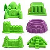 Wawah New 6Pcs Sand Castle Building Model Mold Beach Sand Toys Kit Gift for Kids Summer