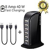 Avantree FAST Desktop 6 Port USB Charging Station | Smart ipad iPhone Charger | for Smartphones Tablets | Universal Compatible - PowerTower Black