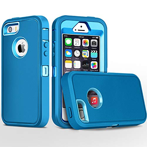 iPhone 5S Case,iPhone SE Case,Fogeek Heavy Duty PC and TPU Combo Protective Defender Body Armor Case Compatible for iPhone 5S,iPhone SE and iPhone 5 with Fingerprint Function (Tea Blue/Light Blue)