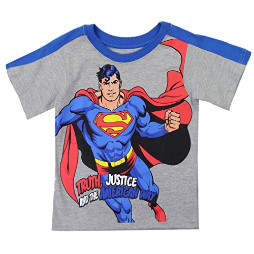Superman Justice And Truth Way The American - Superman Toddler Little Boys Truth Justice American Way T-Shirt (4T, Grey)