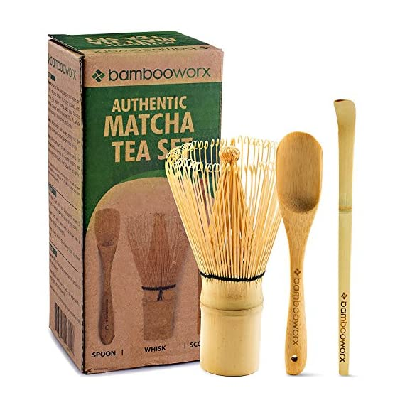 BAMBOOWORX-Japanese-Tea-Set-Matcha-Whisk-Chasen-Traditional-Scoop-Chashaku-Tea-Spoon-The-Perfect-Set-to-Prepare-a-Traditional-Cup-of-Matcha