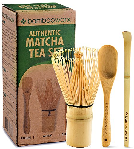 BambooWorx Japanese Tea Set, Matcha Whisk (Chasen), Traditional Scoop (Chashaku), Tea Spoon, The Perfect Set to Prepare a Traditional Cup of Matcha. (Bamboo Whisk Tea)