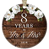 "2018 Christmas Ornament 8th Eighth Wedding Anniversary Mr. & Mrs. Eight Years Married Rustic Design Holiday Porcelain Keepsake Husband & Wife Ceramic Collectible 3"" Flat with Gold Ribbon Free Gift Box"