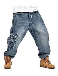 Seunota Men's Baggy Hip Hop Jeans Plus Size Skateboard Cargo Jeans For Men