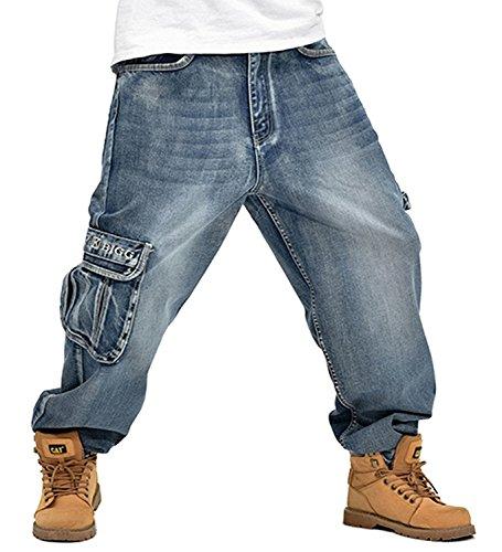 Men's Baggy Hip Hop Jeans 2016 Plus Size 30-46 Multi Seunota Pockets Skateboard Cargo Jeans For Men Tactical Denim Joggers (32(Pants Waist 32