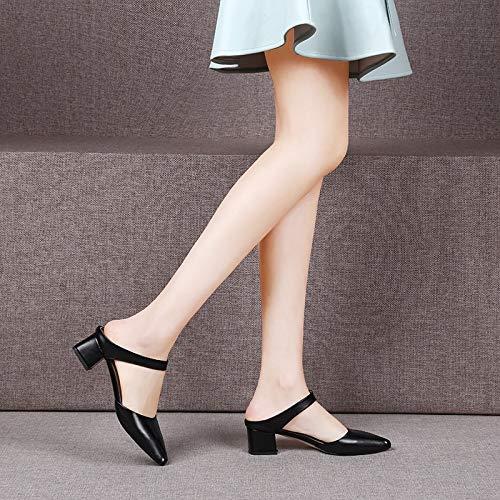 Cuero Tallas Cuadrado Mujer Black Verano Pingxiannv Colores Zapatos Conciso Tres Tacón Grandes Zapatillas C4qfRwxZ