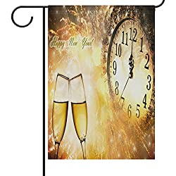 Champagne Glasses Garden Flag House Banner 28 x 40 inch, Clock and Fireworks Large Decorative Double Sided Welcome Yard Flags for Holiday Wedding Party Home Outdoor Outside Decor