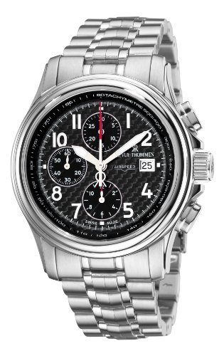 Revue Thommen Men's 16041-6137 Airspeed Carbon Chronograph Automatic Black Dial Watch