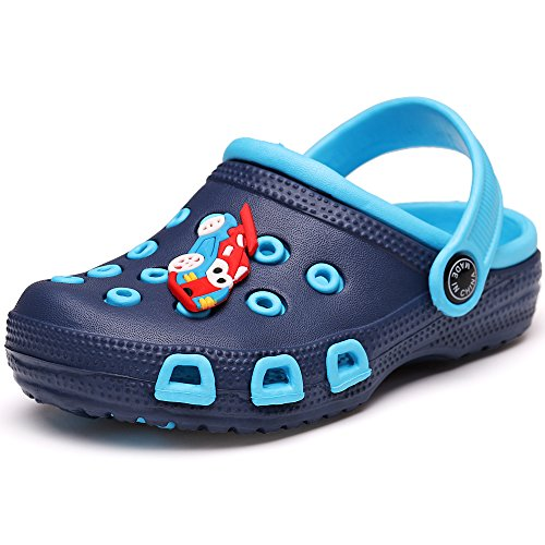 VILOCY Kid's Cute Garden Shoes Cartoon Slides Sandals Clogs Children Beach Slipper Dark Blue,26