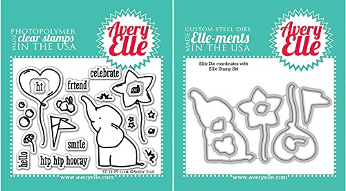 Elephant Stamps - Avery Elle - Ellie Elephant Clear Stamps and Dies Set - 2 item bundle