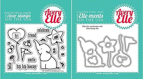 Stamps Elephant - Avery Elle - Ellie Elephant Clear Stamps and Dies Set - 2 item bundle
