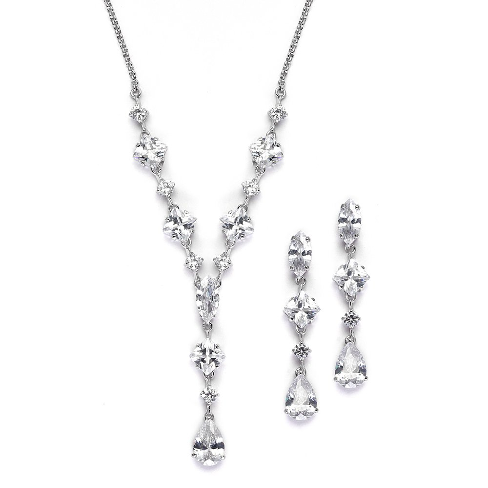 Mariell Silver Platinum Plated Cubic Zirconia Wedding Necklace & Earrings Bridal Jewelry Set Brides